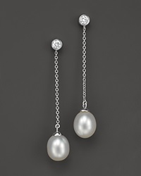 Bloomingdale's Cultured Freshwater Pearl And Diamond Drop Earrings In 14K White Gold