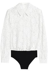 Claudie Pierlot Cotton Blend Corded Lace And Jersey Bodysuit Ivory