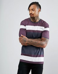 Illusive London Muscle T Shirt In Burgundy With Logo Burgundy Red