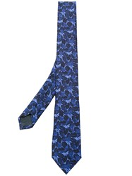 Z Zegna Floral Embroidered Tie Silk Blue