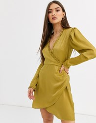 Neon Rose Wrap Front Mini Dress In Hammered Satin Green