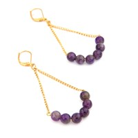 Salome Rebel Collection Amethyst Earrings Gold Pink Purple