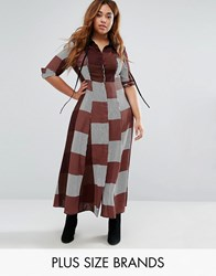 Alice And You Check Maxi Dress With Collar Detail Burgundy Red