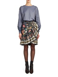 Alexis Mabille Flounced Skirt In Folk Printed Poplin Blue