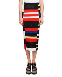 Proenza Schouler Knit Colorblock Pencil Skirt Multi Multi Pattern