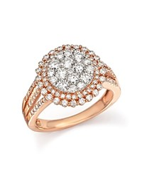 Bloomingdale's Diamond Double Halo Cluster Ring In 14K Rose Gold 1.40 Ct. T.W. Pink