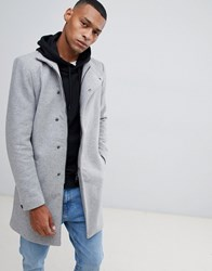 Only And Sons Funnel Neck Overcoat Grey