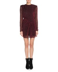 Saint Laurent Tie Neck Long Sleeve Velvet Burnout Blouse Dark Red