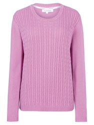 Tulchan Round Neck Cable Jumper Pink