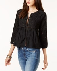 Lucky Brand Crochet Trim Embroidered Jacket Lucky Black