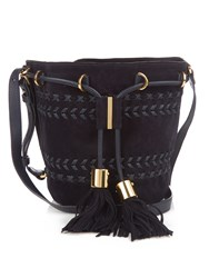 See By Chloe Vicki Small Suede Leather Cross Body Bucket Bag Navy