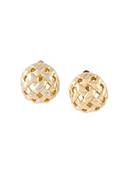Givenchy Vintage Crisscross Clip On Earrings Metallic