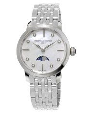 Frederique Constant Slimline Ladies Moonphase Stainless Steel Bracelet Watch Silver