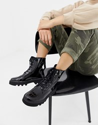 Calvin Klein Diahne Black Patent Leather Ankle Lace Up Boots With Zip Front Detail Black Patent Leather
