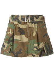Marc Jacobs Camouflage Belted Cargo Skirt Green