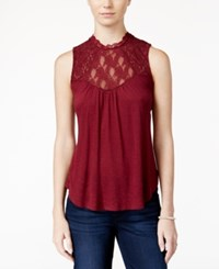 American Rag Sleeveless Lace Inset Top Only At Macy's Zinfandel