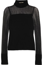 Roland Mouret Paneled Stretch Knit Turtleneck Top
