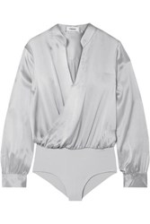 L'agence Marcella Wrap Effect Silk Satin And Stretch Jersey Bodysuit Gray