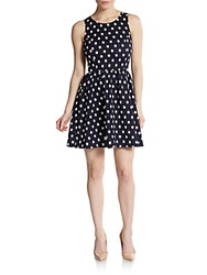 Saks Fifth Avenue Red Polka Dot Textured Fit And Flare Dress Navy Ivory