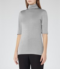 Reiss Britany Womens Metallic High Neck Top In Grey
