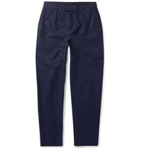 Oliver Spencer Wide Leg Cotton Blend Trousers Blue