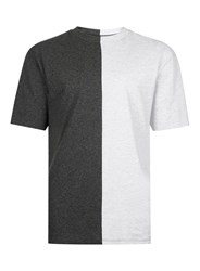 Topman Charcoal And Grey Oversized Spliced T Shirt