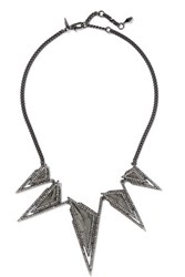 Alexis Bittar Gunmetal And Gold Plated Crystal Necklace One Size