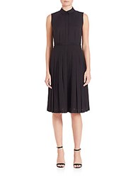 Lafayette 148 New York Pleated Eyelet Sade Dress Black