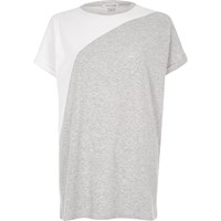 River Island Womens Grey Color Block Boyfriend T Shirt