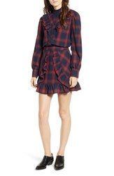 The Fifth Label Nash Ruffle Plaid Top Navy Wine