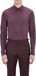 Burberry Xo Barneys New York Pleated Bib Tuxedo Shirt Red