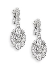 Judith Ripka Castle White Sapphire And Sterling Silver Openwork Earrings