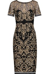 Marchesa Notte Embroidered Crochet Knit Dress Black