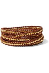 Chan Luu Woman 18 Karat Gold Plated Sterling Silver And Leather Wrap Bracelet Brown