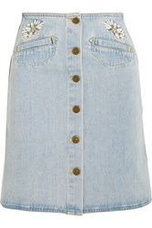 Mih Jeans Embroidered Denim Mini Skirt Mid Denim