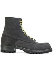 Lanvin Lace Up Ankle Boots Grey