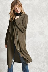 Forever 21 Contemporary Hooded Coat Olive