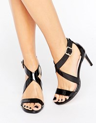 Faith Daisy Black Cross Strap Heeled Sandals Black