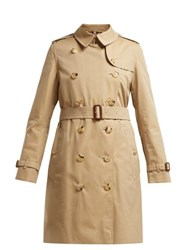 Burberry Kensington Cotton Gabardine Trench Coat Beige