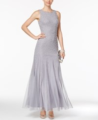 Adrianna Papell Embellished Mermaid Gown Silver Grey