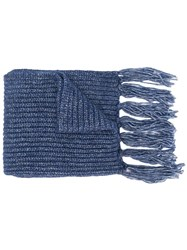 Jacob Cohen Ribbed Scarf Blue