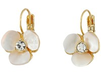 Kate Spade Disco Pansy Leverbacks Cream Clear Earring White