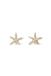 Forever 21 Rhinestone Starfish Studs Gold Clear