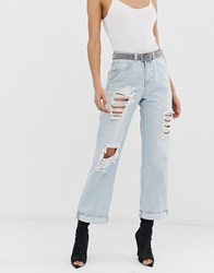 Missguided Distressed Boyfriend Jeans In Light Wash Blue