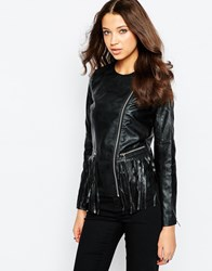 Brave Soul Tall Faux Leather Jacket With Fringing Black
