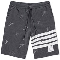 Thom Browne Skier Embroidery Quilted Sweat Short Grey
