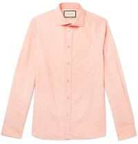 Gucci Peach Cutaway Collar Cotton Poplin Shirt Peach