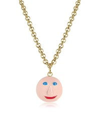 Christopher Kane Face Charm Necklace Golden Yellow