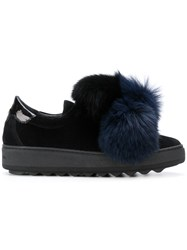 Philippe Model Pom Pom Sneakers Women Cotton Leather Suede Rubber 38 Black