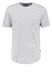 Only And Sons Onsperry Fitted Print Tshirt Light Grey Melange Mottled Light Grey